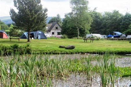 view of tent area from far side of the pond