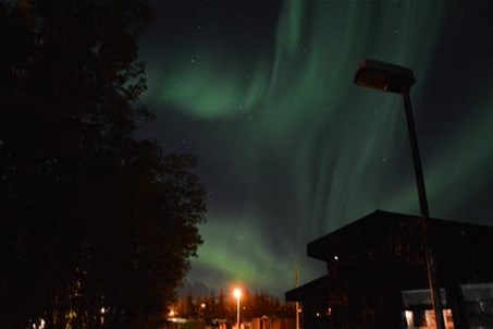 Northern lights in September at the campsite.