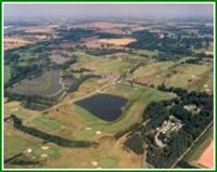 Aerial shot of the park showing the golf course and fishing lakes.