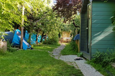 Boutique camp Ljubljana - sleeping area with glamp and tents.